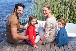 Happy family at a lake