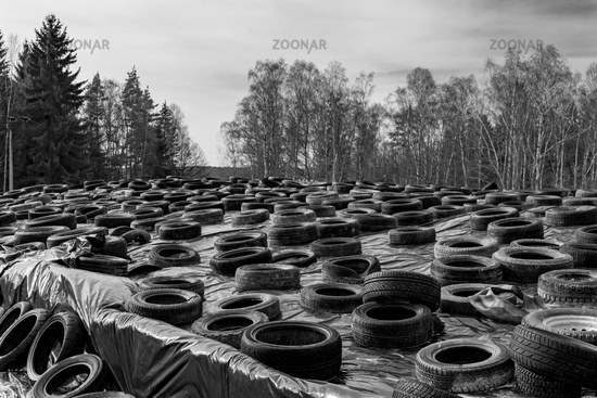 Old discarded car tyres used as weights