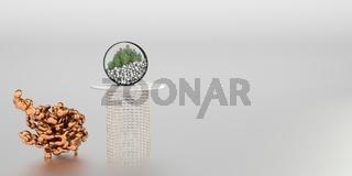 Dekorationsobjekt und Pflanzgefäss mit Bonsaibäumen auf Tisch