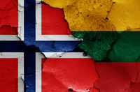 flags of Norway and Lithuania painted on cracked wall