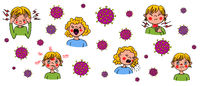 Coronavirus-SARS-CoV-2 which causes Covid-19 is now a pandemic - hand-drawn vector illustration