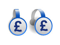 British pound currency symbol on Blue advertising wobblers.