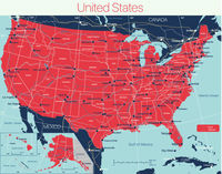 United States of America state detailed editable map
