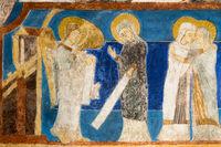 Annunciation. The angel Gabriel tells Mary that she will bear a son. Mary and Elisabeth. Fresco in Bjaresjo churh