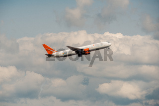 Domodedovo, Russia - May 12, 2019: Boeing 767-3Q8 ER type code: B763 Royal Flight Airlines take off at Domodedovo airport, Moscow Region