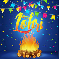 Happy Lohri Banner, Greeting Card, Punjabi Festival Celebration
