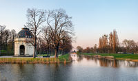 Panoramic view at Sunset, early spring. Herrenhausen Gardens, Hannover, Germany.