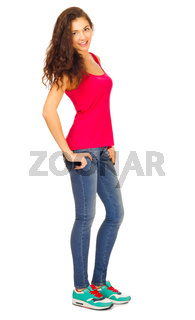 Young sporty woman in jeans