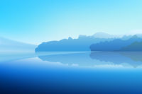 Panorama of Winter Dawn on a mountain lake with a snowy forest and a mirror reflection in the water. Vector realistic illustration.