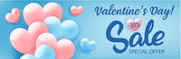 Valentine's day shopping sale invitation advertising banner with pink hearts on blue background, vector illustration.