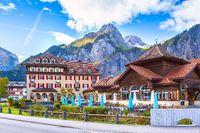 Street view in Kandersteg, mountains, Switzerland