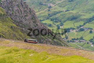 Mount Snowdon Railway, seen from the Llanberis Path, Gwynedd, Wales, UK