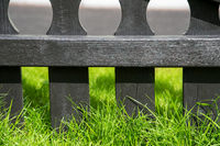 Gray Rustic Wooden Fence, Green Grass, Background Or Texture