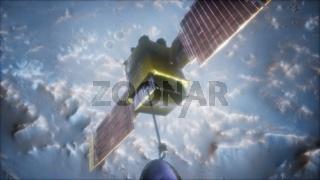 Global Surveyor orbiting Mars planet