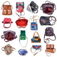 set of various handcrafted ladies bags isolated