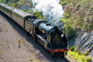 Steam Train on the Bluebell Railway Line in Sussex
