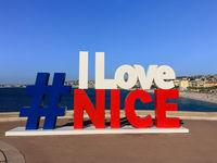 I love Nice sign, landmark in Nice