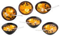 set of bowls with Solyanka russian fish soup