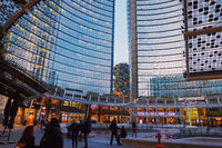 Modern buildings on the city center streets of Milan in Lombardy region in Northern Italy, contemporary European architecture