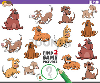 find two same dog picture game for children