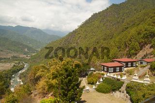 Landscape view of Khamsum Yulley Chorten garden, Punakha District, Bhutan