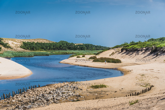 The mouth of the Huchet current in the Landes
