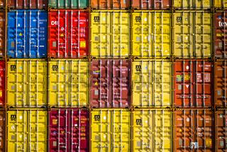 Container, Verladebahnhof Dornstadt bei Ulm, Baden-Württemberg, Deutschland, Europa