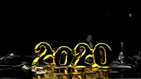 Happy New Year 2020 lettering made by gold and water splash around it. Isolated on black background. 3d illustration. Selective focus macro shot with shallow DOF