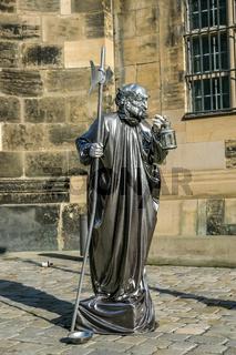 Street actor near Frauenkirche temple in Dresden