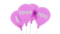 Shiny pink balloons with the words I love you