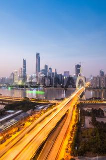 guangzhou liede bridge in nightfall