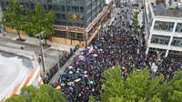 Seattle, WA/USA  June 3: Street View Protesters create a Mob Scene for George Floyd and the BLM in Seattle on Capital Hill June 3, 2020
