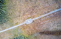 Electricity Power Line on Swamp Aerial View