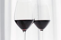 Two glasses of red wine, organic beverage product