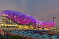 Abu Dhabi. United Arab Emirates. Yas Marina Viceroy Hotel at dusk