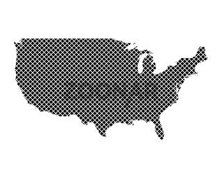 Karte der USA auf einfachem Kreuzstich - Map of the USA on simple cross stitch