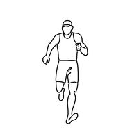 Male Marathon Runner Running Front View Line Drawing Black and White