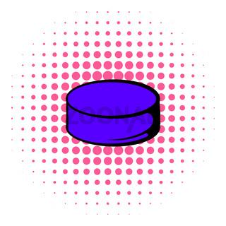 Hockey puck icon, comics style