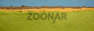 blue sky and green fields abstract landscape created with handmade Indian paper