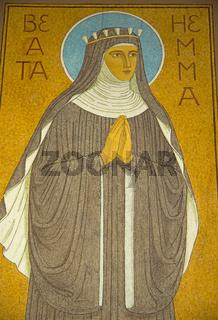 Bild der Hildegard von Bingen im Kloster St. Hildegard, UNESCO-Weltkulturerbe Oberes Mittelrheintal, Rüdesheim, Hessen, Deutschland, Europa