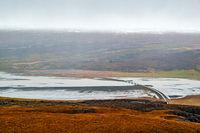 Panoramic view from Hengifoss waterfall, Iceland