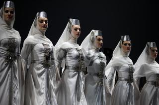 Belarus, Gomel, February 27, 2018. Concert hall. Speech of the national Georgian ballet Sukhishvili.Georgian women are dancing