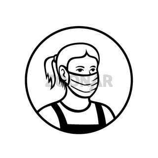 Caucasian Teenage Girl Wearing Face Mask Front View Circle Retro Black and White