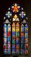 PRAGUE, CZECH REPUBLIC - FEBRUARY 19, 2015 - Stained-glass window in St Vitus Cathedral