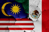 flags of Malaysia and Mexico painted on cracked wall