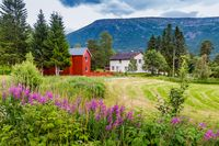 Colorful farm in Oppdal, Norway