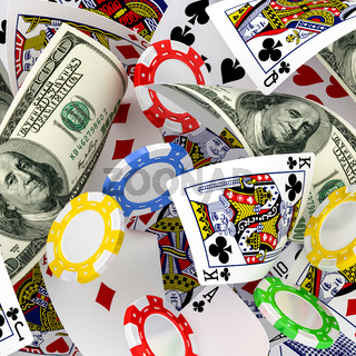 dollars, chips and cards