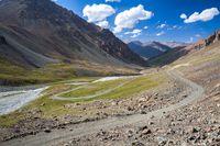 Wonderful mountain road in Kyrgyzstan