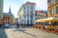 Tourists, street restaurant, Tallinn, Estonia