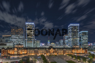 Night panoramic view of Marunouchi side of Tokyo railway station in the Chiyoda City,